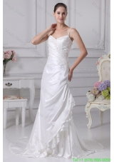 Coumn Spaghetti Straps Appliques Bridal Dress with Ruching