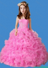 Strapless Ruffles and Appliques Little Girl Pageant Dress in Rose Pink
