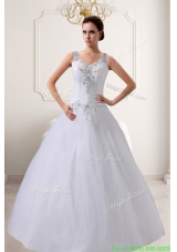2016 A Line Straps Beading Wedding Dresses with Zipper Up