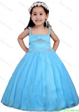 Aqua Blue  Spaghetti Straps Beading Little Girl Pageant Dress