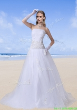 Beaded A Line Strapless Garden Outdoor Wedding Dresses with Zipper Up