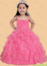 Rose Pink Ball Gown Spaghetti Straps Little Girl Pageant Dress