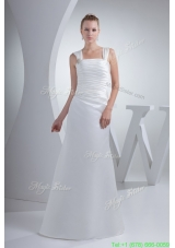 Ruching and Beading Decorated Wide Straps Square Sheath Bridal Dress
