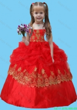 Strapless Lace Appliques Long Little Girl Pageant Dress in Red