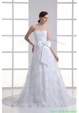 2016 A line Sweetheart Sash Lace Court Train Wedding Dress