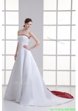 A line Strapless Embroidery Chapel Train Satin Wedding Dress