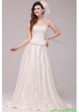 A Line Straps Embroidery Taffeta Wedding Dress with Straps