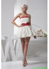 Beading and Pick Ups Accent White Mini Wedding Dresses with Red Bowknot