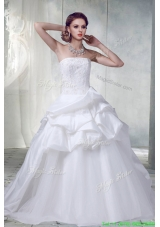 Cheap Princess Strapless Beading Wedding Dresses with Appliques