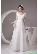 Column V Neck Flounced Long Sleeve White Bridal Dress with Embroidery