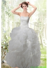 Exquisite Strapless Ruffles Wedding Dress with Zipper Up