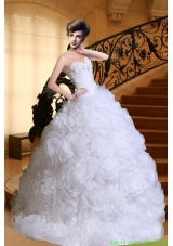 Luxurious Sweetheart Beading Wedding Dresses with Sweep Train for Winter