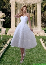 Rolling Flowers Princess Sweetheart Tea Length Wedding Dresses