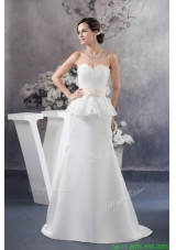 Sweetheart Brush Train White Wedding Dress with Champagne Bowknot