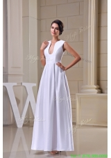 V Neck Ankle Length Sheath Wedding Dress in White For Destination Wedding