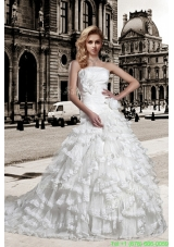 2016 Spring Elegant A Line Strapless Wedding Dress with Hand Made Flowers