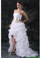 A Line Strapless High-low Beading Organza Wedding Dress