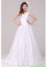 A Line Straps Embroidery Taffeta Wedding Dress with Brush Train