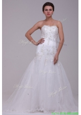 Elegant A Line Sweetheart Tulle Appliques Tulle Wedding  Dress with Court Train