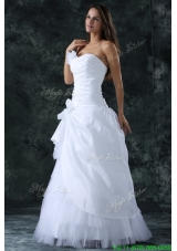 Elegant Sweetheart Column Ruche Decorate Floor length Wedding Dress
