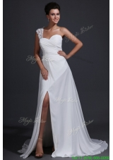 Spring Empire Chiffon One Shoulder Appliques Wedding Dress with Train