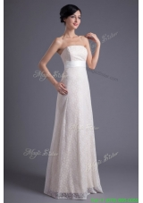 Winter Column Strapless White Lace Belt Floor length Wedding Dress