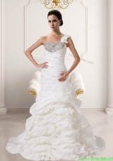 Beautiful Mermaid 2016 Fall One Shoulder Wedding Gowns With Beading