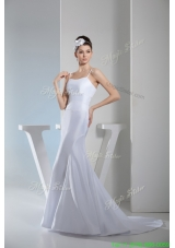 Elegant Beading Spaghetti Straps Mermaid Wedding Gowns with Sweep Train