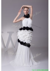 Fall Luxurious Halter Top Ruffles and Black Hand Made Flowers Bride Dress for Party