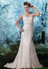 Spring Lace Wide Straps Court Train Beading Open Back Wedding Dress
