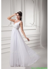 2016 Spring Empire V-neck Beading and Ruching Chiffon Long Wedding Dress