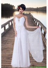 2016 Summer Simple Empire Sweetheart Brush Train Wedding Dresses with Appliques