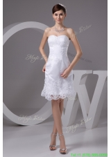 Classic Sweetheart Strapless Knee length Wedding Dresses with Appliques