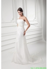 Column One Shoulder Appliques and Ruching Chiffon Wedding Dress