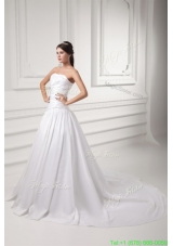 Gorgeous A-line Strapless Chapel Train Wedding Dress with Beading