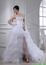 2016 Spring Elegant Princess Ruffled Layers and Appliques Wedding Dress with Sweetheart