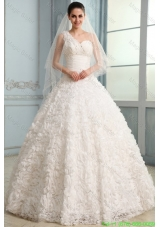 2015 Winter One Shoulder A-line Brush Train Wedding Dress with Beading and Ruffles