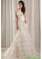 2015 Winter Strapless Mermaid Embroidery and Ruffles Court Train Wedding Dress
