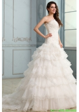 2015 WinterBeading and Flower Strapless Wedding Dress with Ruffles Layered
