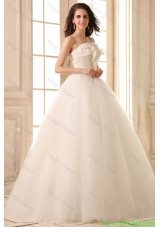Beaded Decorate Bodice Strapless Ball Gown Tulle Wedding Dress