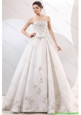 Strapless A-line Embroidery and Beading Wedding Dress with Chapel Train