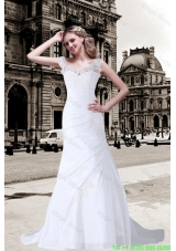 2016 Column V Neck Appliques Lace Wedding Dress with Brush Train