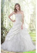 Beautiful  Beading Strapless Weding Dress with Brush Train