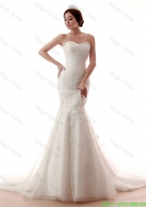 Remarkable Mermaid Sweetheart Hand Made Flowers Wedding Gowns