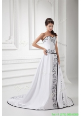 Elegant A-line Sweetheart Chapel Train Wedding Dress with Embroidery