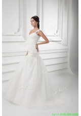 Luxurious A-line Straps Wedding Dress with Lace Sweep Train