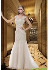 White Scoop Cap Sleeves Beading Wedding Dresses with Brush Train