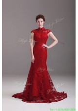 Exquisite Cap Sleeves Mermaid Wine Red Wedding Dresses with Brush Train