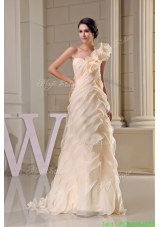 Ruffles One Shoulder Tiers Brush Train Wedding Dresses in Champagne