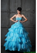 Spring Perfect Ball Gown Appliques and Ruffles Wedding Gowns in Aqua Blue